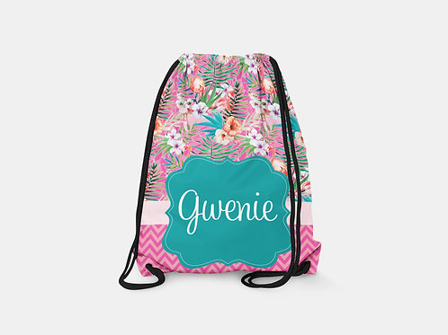 Flower Jungle - Personalized Draw String Bag