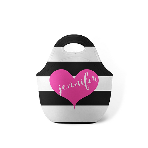 Heart Stripes - Personalized Lunch Tote