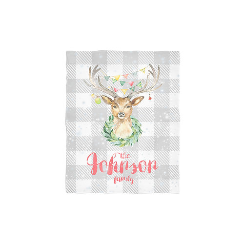 Merry Deer - Personalized Christmas Throw Blanket