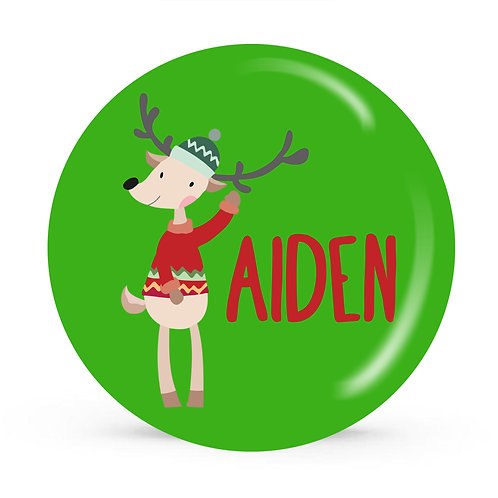 Wally Reindeer - Personalized Christmas Plate