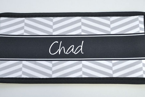 Black Stripe-Chevron - Personalized Can Koozie