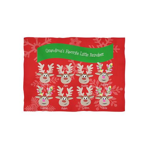 Grandma's Reindeer - Personalized Christmas Throw Blanket