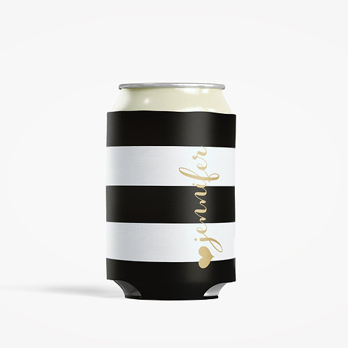 Black Stripes - Personalized Can Insulator Coolie