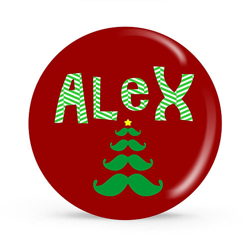 Mustache Tree - Personalized Christmas Plate
