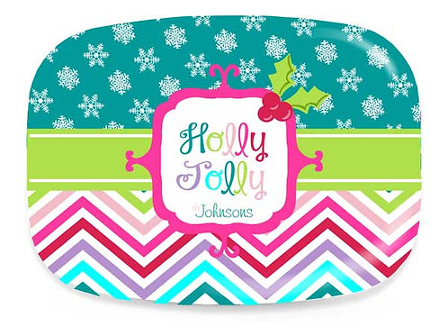 Holly Jolly - Personalized Christmas Platter