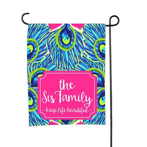 Peacock Beach- Personalized Garden Flags