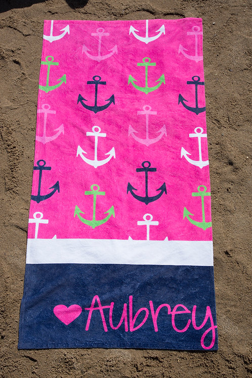 Colored Anchors - Personalized Beach Towel