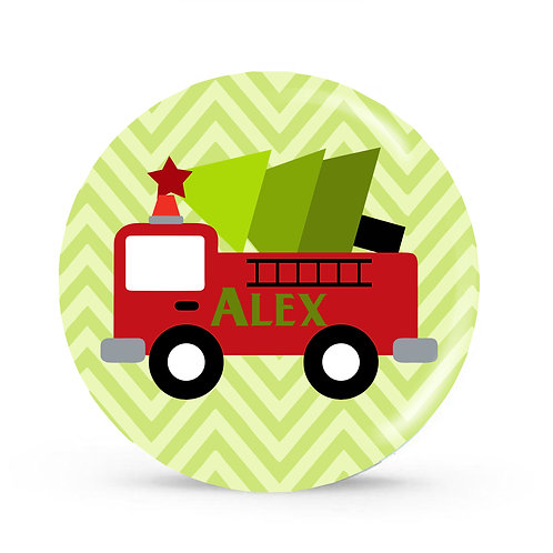 Tree Trucking - Personalized Christmas Plate