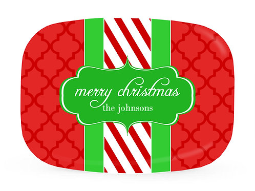 Candy Stripe - Personalized Christmas Platter