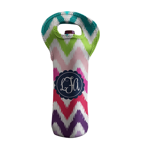 Rainbow Chevron - Personalized Wine Bottle Tote