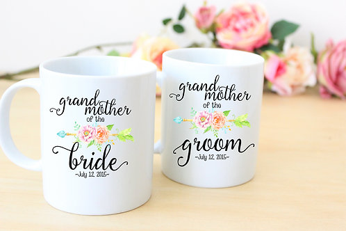 Grandmother of the Bride - Ceramic Coffee Mug Set