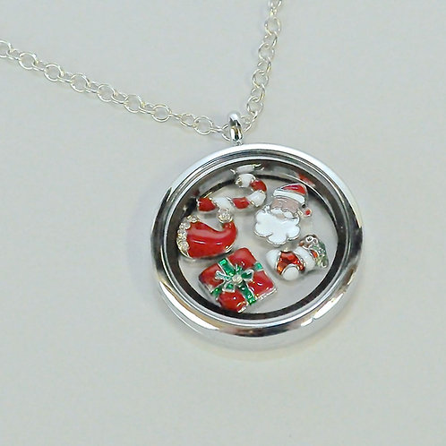 Chritsmas Theme Floating Charm Necklace
