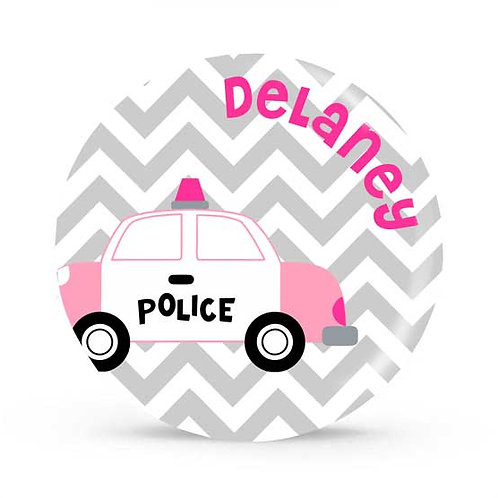 Pink Police - Personalized Plate For Kids