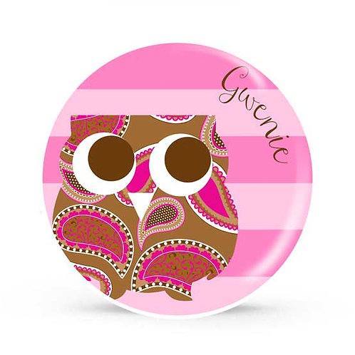 Pink Owl - Personalized Plate For Kids