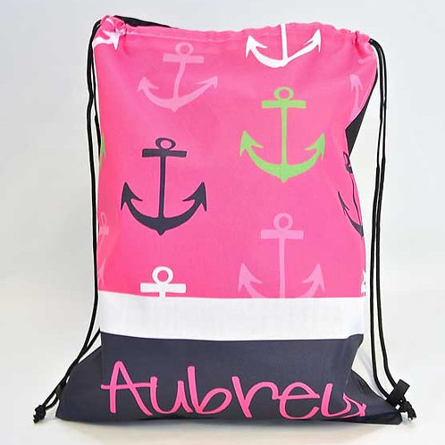 Colored Anchor - Personalized Draw String Bag