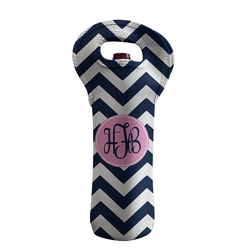 Chevron - Personalized Wine Bottle Tote