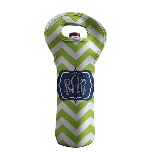 Green Chevron - Personalized Wine Bottle Tote