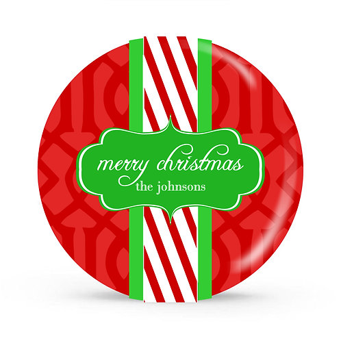 Candy Cane - Personalized Christmas Plate