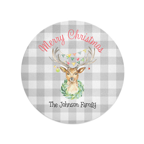 Merry Christmas - Personalized Glass Christmas Cutting Board