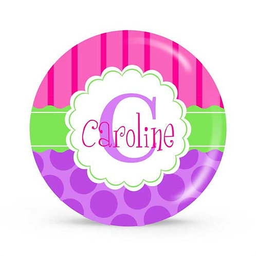 Stripes & Dots - Personalized Plate For Kids