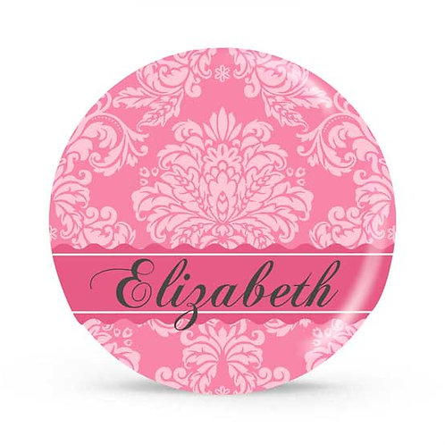 Pink Damask - Personalized Plate For Kids
