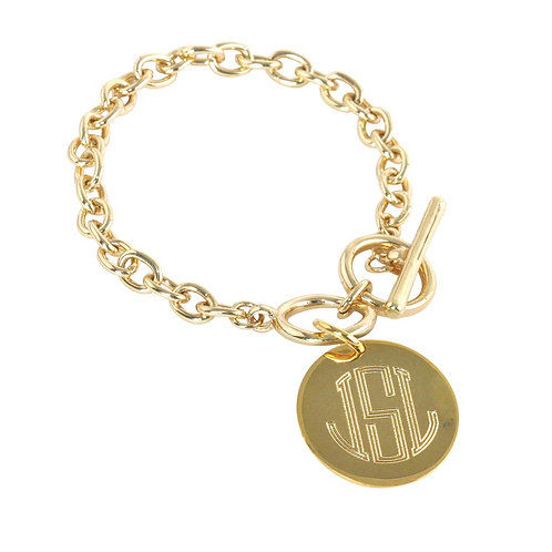 Round Charm Link - Personalized Monogram Jewerly