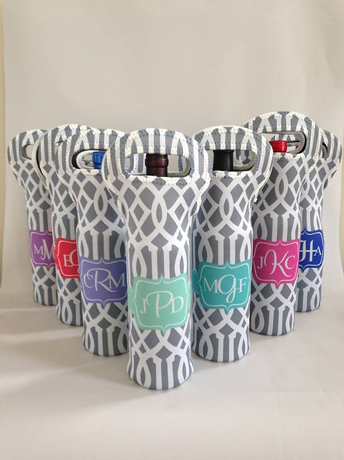 Set Of 7 - Personalized Wine Bottle Tote