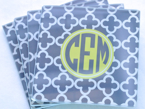 Grey Clubs - Personalized Glass Coasters