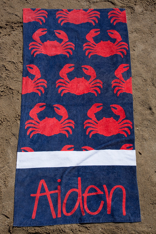Crabby -  Personalized Beach Towel