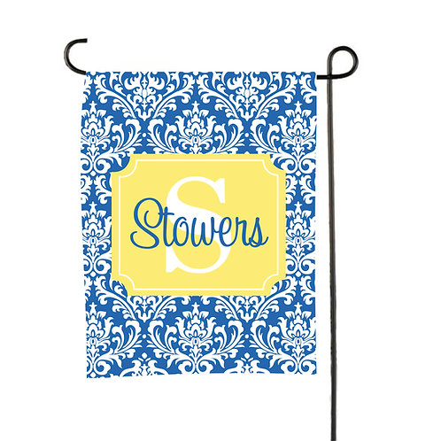 Blue Damask  - Personalized Garden Flags