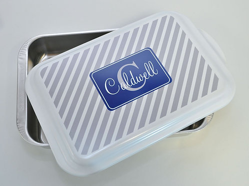 Grey Stripes - Personalized Casserole or Cale Pan