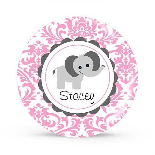 Pink Elephant - Personalized Plate For Kids