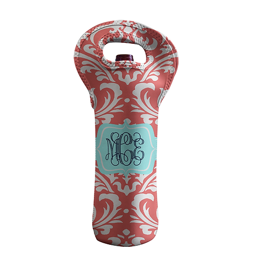 Damask Coral - Personalized Wine Bottle Tote