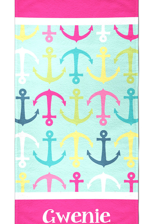 Anchors - Personalized Beach Towel