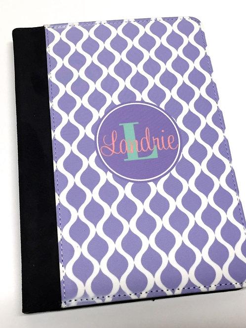 Personalized iPad Mini Folio Case - Purple Trellis