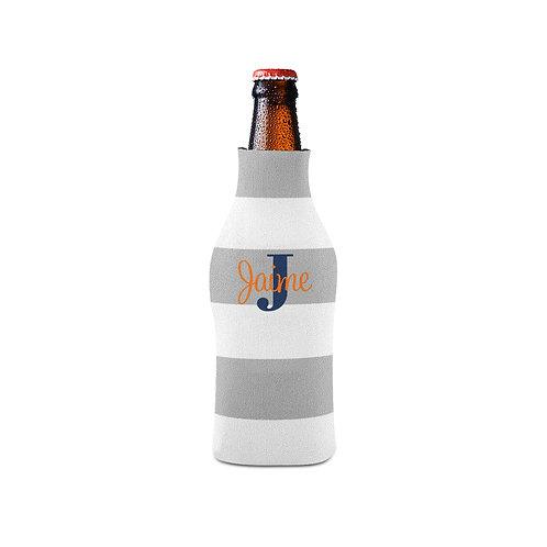 Gray Stripe - Personalized Bottle Insulator