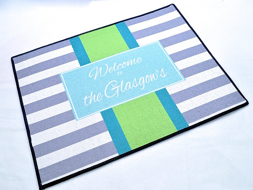 Gray Stripe - Personalized Entry Mat