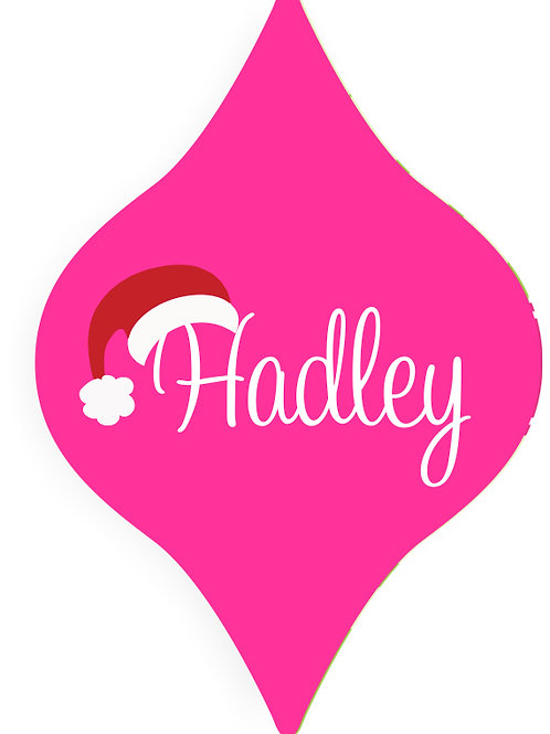 Pink Santa Hat - Personalized Christmas Ornament