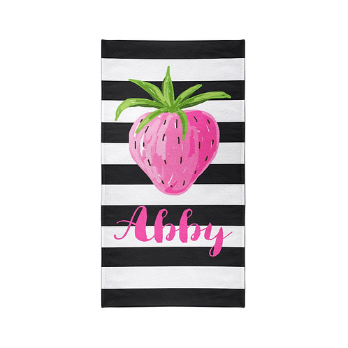 Pink Strawberry - Personalized Beach Towel