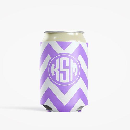 Purple Chevron - Personalized Can Insulator Coolie