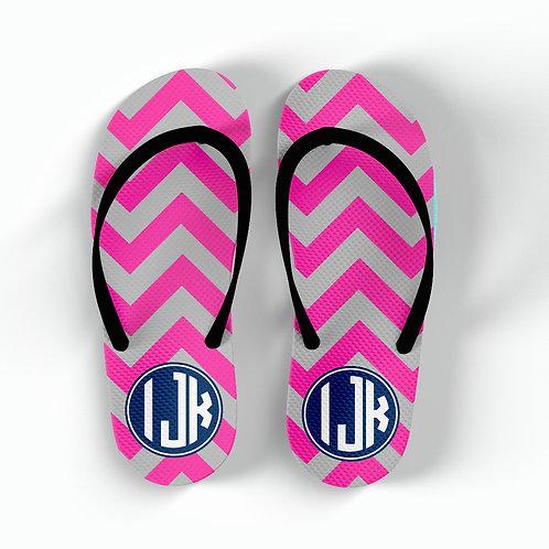 Pink Chevron - Personalized Flip Flops