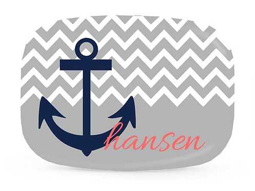 Chevron Anchor - Personalized Nautical Platter