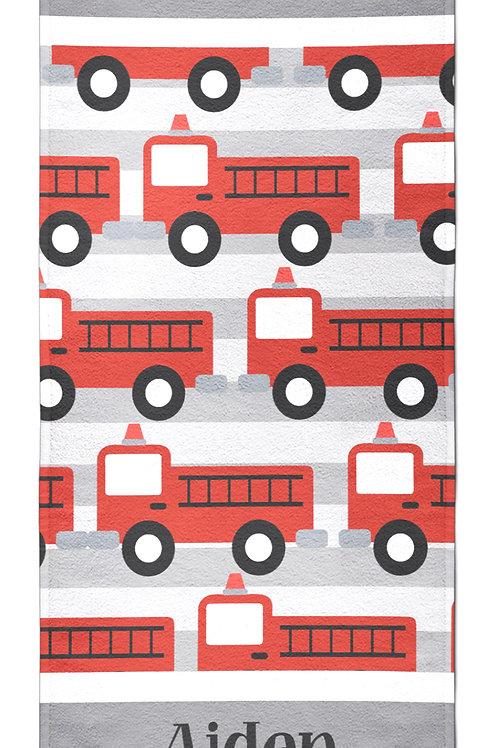 Fire Truck- Personalized Beach Towel
