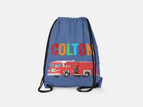 Fire Truck - Personalized Draw String Bag