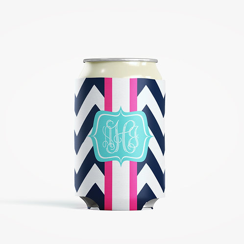 Blue Chevron  - Personalized Can Insulator Coolie