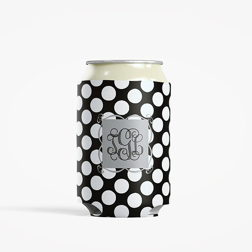 Black Dots - Personalized Can Insulator Coolie