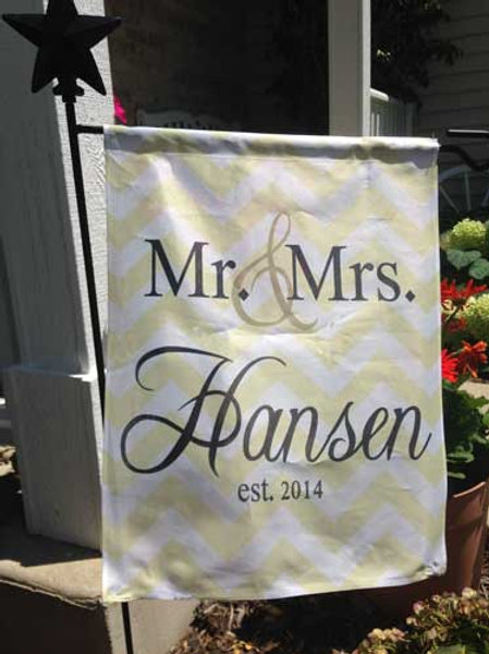 Gold Chevron - Personalized Garden Flags
