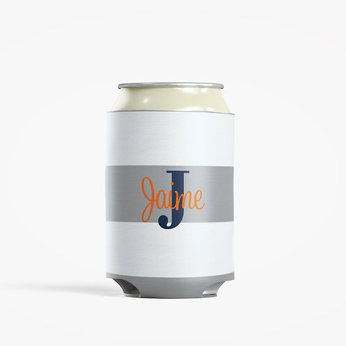 Gray Stripes  - Personalized Can Insulator Coolie