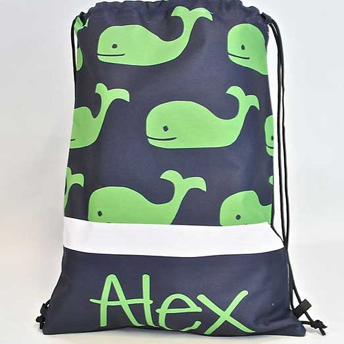 Green Whale - Personalized Draw String Bag