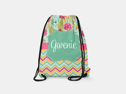 Flower Chevron - Personalized Draw String Bag